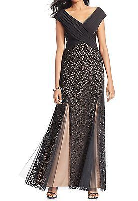 Patra NEW Black Nude Women's Size 4 Pleated Mesh Lace Ball Gown Dress $219 #375