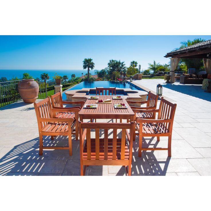 Vifah Malibu Eco-friendly 7-piece Eucalyptus Grandis Wood Outdoor Dining Set (Natural Wood Color), Tan, Size 7-Piece Sets, Patio Furniture
