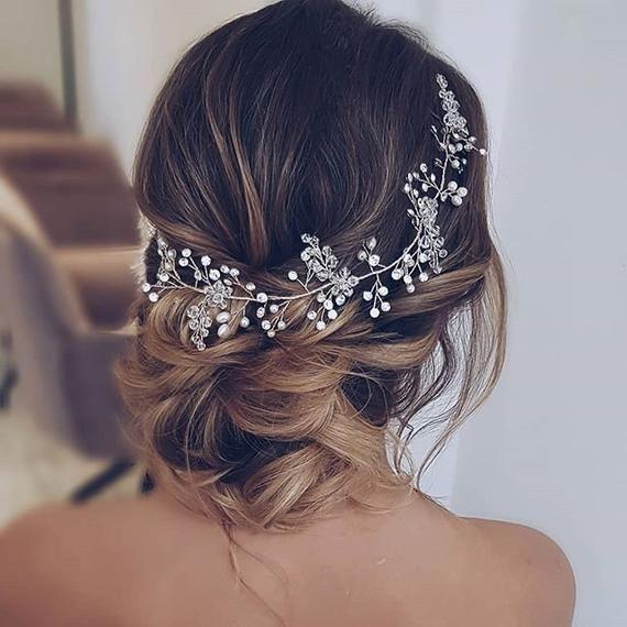 Kristall und Perle Haar Rebe extra lange Haare Rebe Braut Haar Rebe Hochzeit Haa…