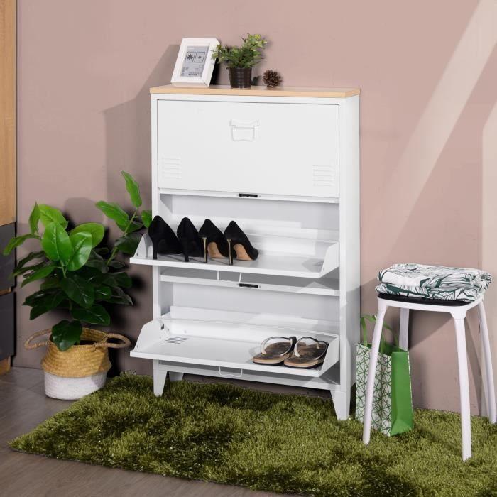 Liverpool Meuble A Chaussures Metal Blanc Et Decor Chene L 65 5 X P 15 5 X H 105 Cm Meuble Chaussure Meuble Rangement Et Meuble
