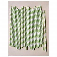 Πράσινα ριγέ χάρτινα καλαμάκια για παιδικό πάρτυ.