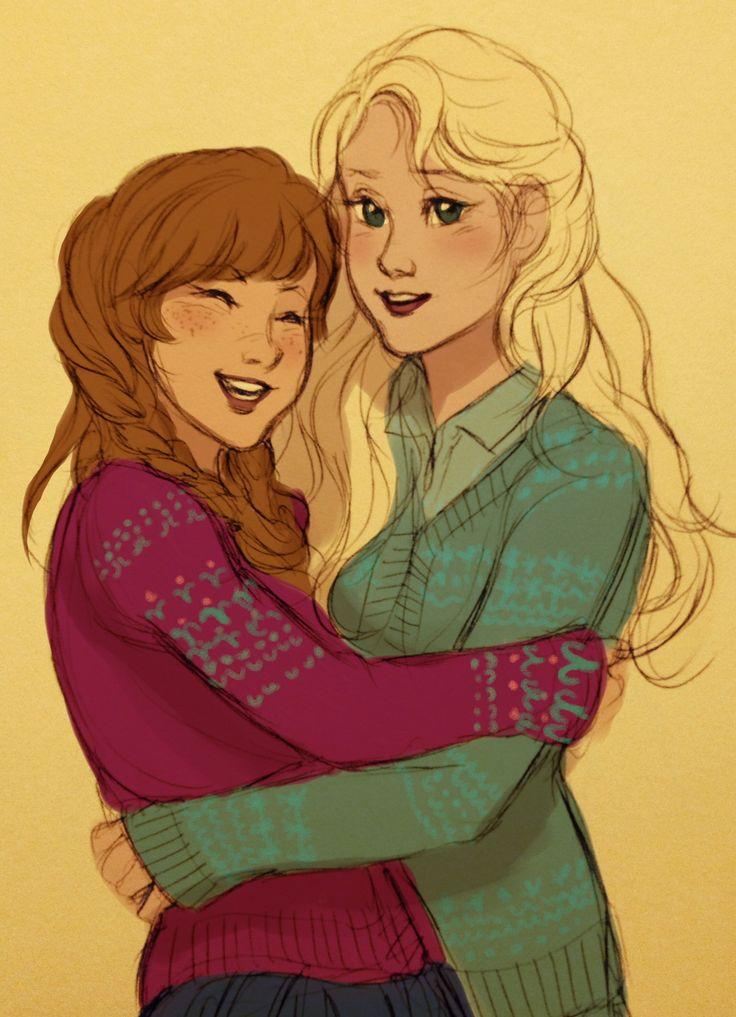 Modern Disney: Elsa and Anna by bevsi | via tumblr