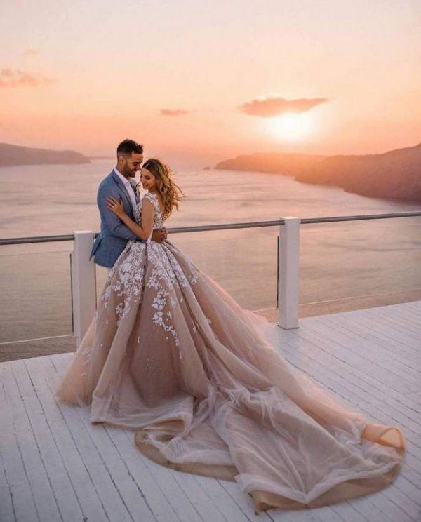 Bride and groom at sunset    #wedding #weddingideas #aislesociety #weddingdress #luxewedding