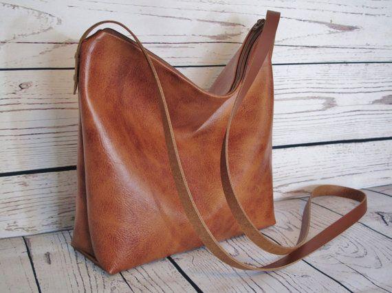 Tan crossbody bag, vegan leather, slouchy cross body messenger bag, shoulder bag, faux leather bag, real leather