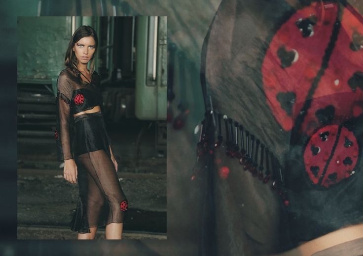 ANOUKI | Sheer black organza top an skirt with hand-embroidered ladybirds and beads.