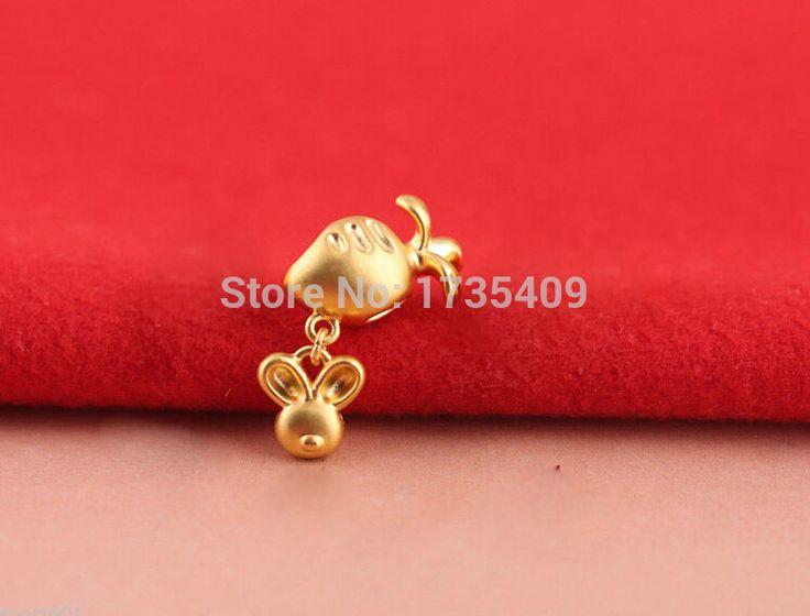 Pure 999 24K Yellow Gold / 3D Lucky Small Turnip & rabbit Pendant  1.2g