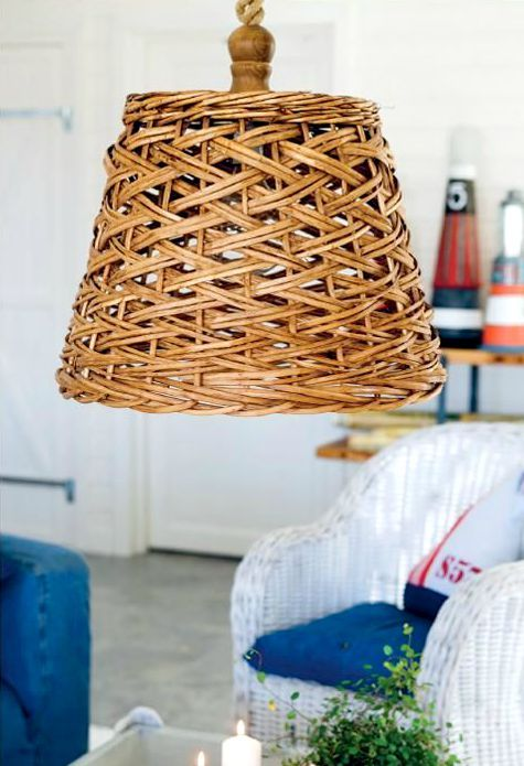 Turn a basket into a ceiling light pendant for a natural look. From The Nautical Home by Anna Örnberg: http://www.completely-coastal.com/2015/07/the-nautical-home-by-anna-ornberg.html