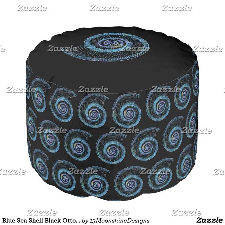 Blue Sea Shell Black Ottoman Pouf #beach #sea #black #ottoman #casualstyle