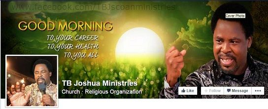"""Beware of Fake TB Joshua Ministries Facebook Pages Created by Scammers: Beware of fake TB Joshua Ministries Facebook pages created by scammers to encourage Facebook users to """"like,"""" share or comment on, by typing """"Amen"""" or some other comments to give thanks. Facebook users who follow the instructions in the posts on the fake TB Joshua Ministries Facebook pages,  run the risk of, scammers collecting and using their publicly available Facebook information in scams, or being ..."""