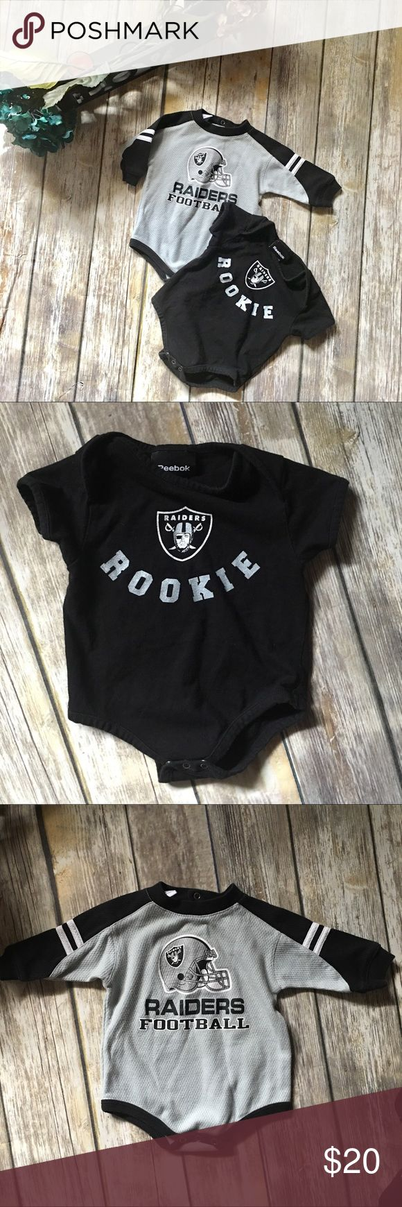 NFL Raiders Football Bundle Comes with one thermal long sleeve NFL raiders onesie and one short sleeve Reebok onesie. Both are size 6 to 9 months. In excellent used condition. Reebok One Pieces Bodysuits