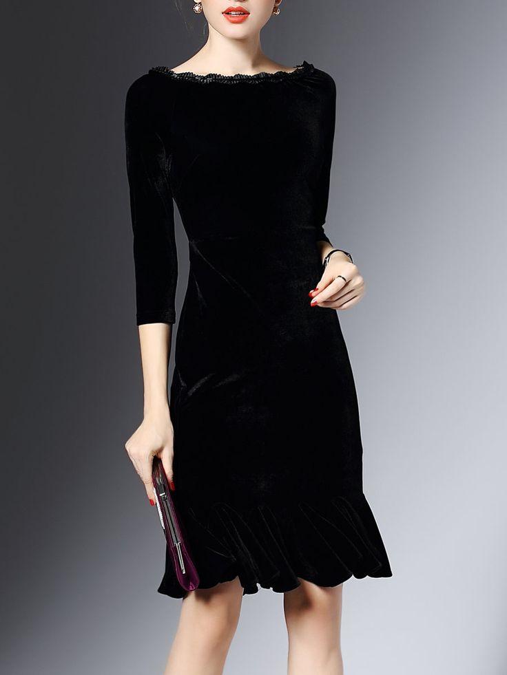 Shop Midi Dresses Black 3 4 Sleeve Flounce Bateau Boat