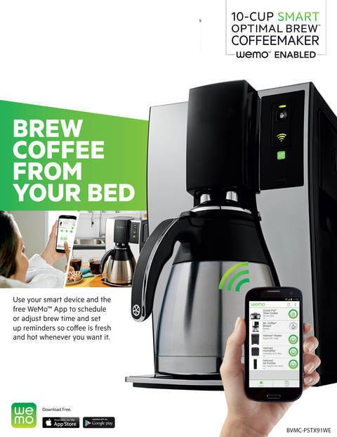 Mr. Coffee smart optimal brew coffee maker with wemo ap. Make coffee from bed YES!
