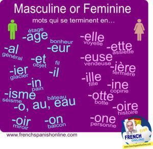Image to share and download: Gender of French words: http://www.frenchspanishonline.com/magazine/masculine-or-feminine-gender/