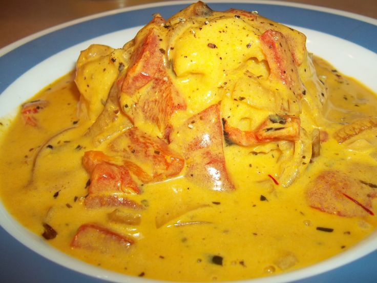 SAFFRON ROASTED PEPPER CREAM SAUCE - meatless monday with sauteed ...