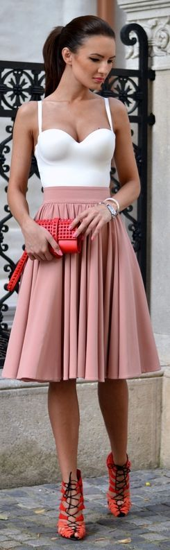 """Street fashion high waist blush skirt. ♡♥️♡♥️ Thanks, Pinterest Pinners, for stopping by, viewing, re-pinning, & following my boards. Have a beautiful day! ^..^ and """"Feel free to share on Pinterest ^..^  #topfashion #fashionandclothingblog #fashionupdates *•.¸♡¸.•**•.¸ ┊  ┊ ┊ ┊  ┊"""