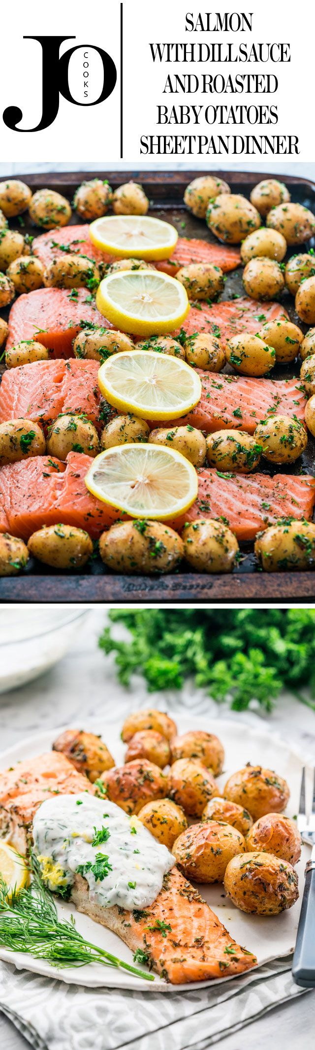 Sheet pan dinners were never easier than this salmon with dill sauce and roasted baby potatoes. Dinner in 30 minutes that's healthy, minimum prep time required and easy cleanup.