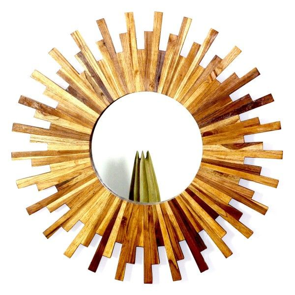 Teak Wood Sunburst Mirror Natural Wood Decor Sunburst Mirror Natural Wood Decor Wood Framed Mirror