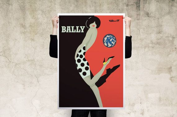 Bally Kick Red Black Art Print Poster by instacool on Etsy