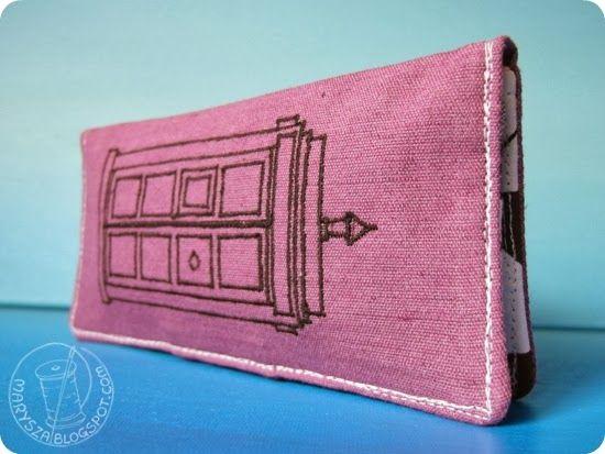 #marysza, #sewing, #tardis, #wallet, #portfel, #purple, #geometric, #triangles, #bobbin,  marysza. handmade goods made with love