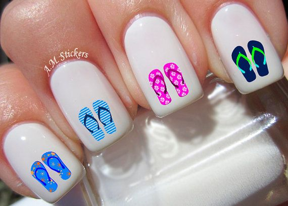Flip Flops nail decals, very pretty, bright stickers with unique designs.