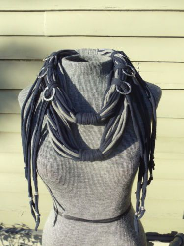 Upcycled T-Shirt Jersey Infinity Scarf Necklace Cyberpunk Steampunk DIY OOAK 2