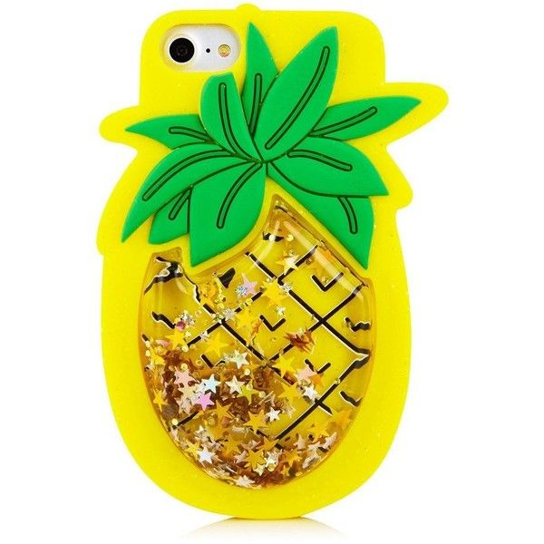 Skinnydip London Pineapple Silicone iPhone Case ($23) ❤ liked on Polyvore featuring accessories, tech accessories, slim iphone case, iphone sleeve case, silicone iphone case, silicon iphone case and glitter iphone case