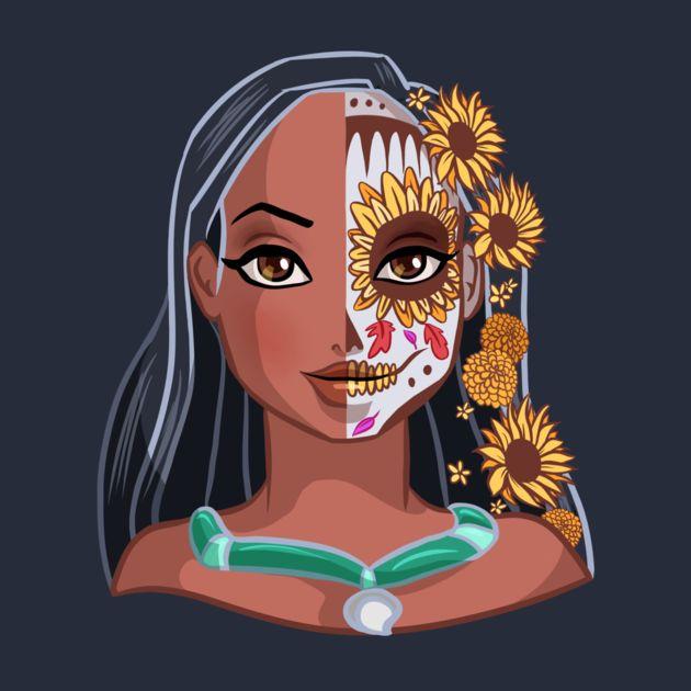 Pocahontas como caveira mexicana