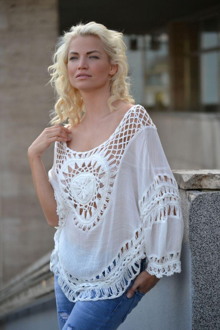 HÁČKOVANÁ BÍLÁ TUNIKA Madonna   TOPY   TRIČKA   TÍLKA   Chicshop.cz