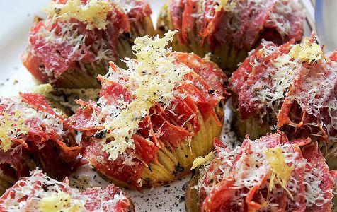 Receta Patatas laminadas con pepperoni y queso