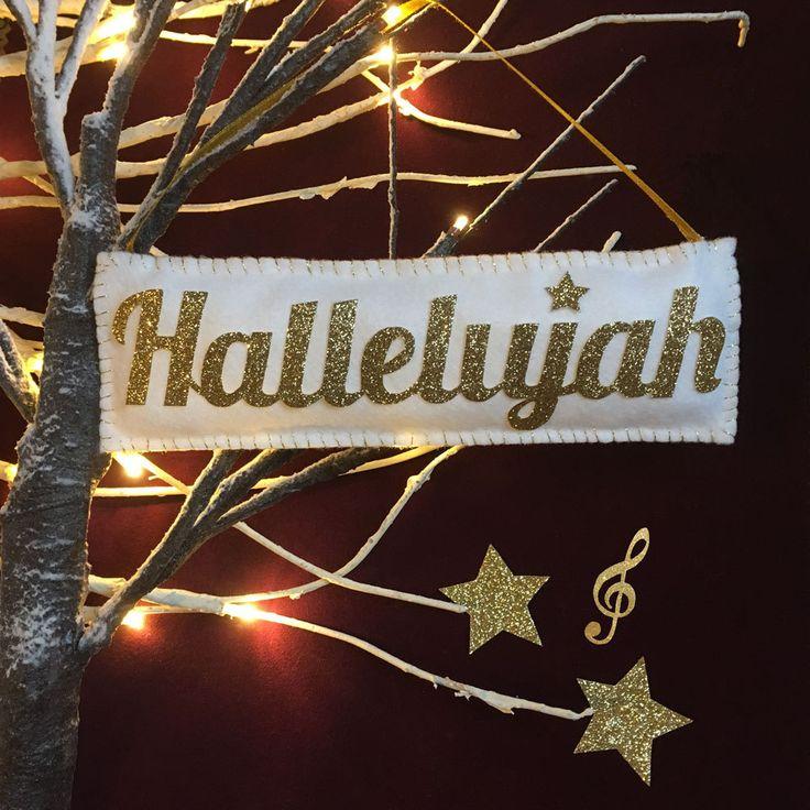 Hallelujah Gold Sparkle Christmas Tree Decoration/Ornament Music Leonard Cohen Jeff Buckley Star Shrek by SHERWOODMADEUK on Etsy