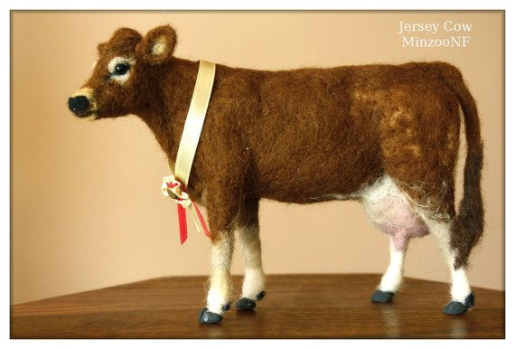 Cow, Needle felting Jersey Cow, Cow decor, felted cow, needle felting animals, Jersey cattle