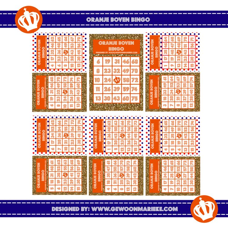 Bingokaarten voor Koningsdag