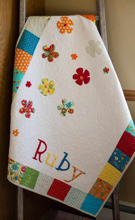 Baby Quilt Modern Baby Quilt Custom Baby Quilt by TheQuirkyQuiltr