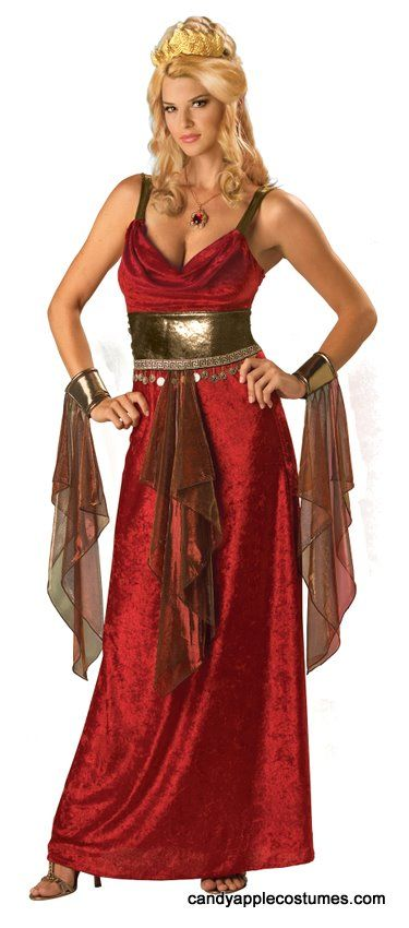 Adult Red Glamorous Goddess Costume - Roman, Goddess or Cleopatra Costume - Candy Apple Costumes