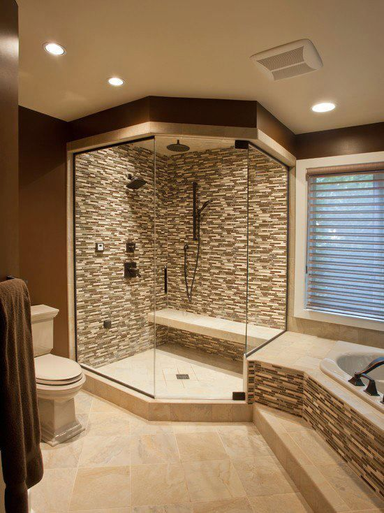 Love this bathroom setup and the bench idea in the shower!