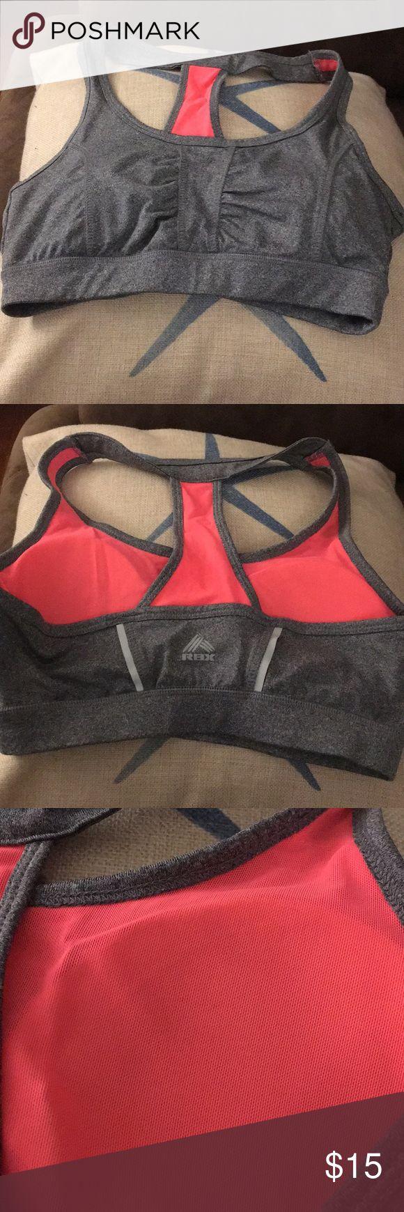 RBX hot pink/grey sports bra like new condition. RBX Intimates & Sleepwear Bras