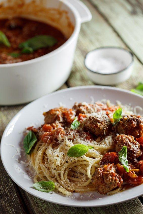 Meatballs in rich tomato sauce