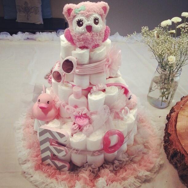 Diper cake! It's a girl!!!