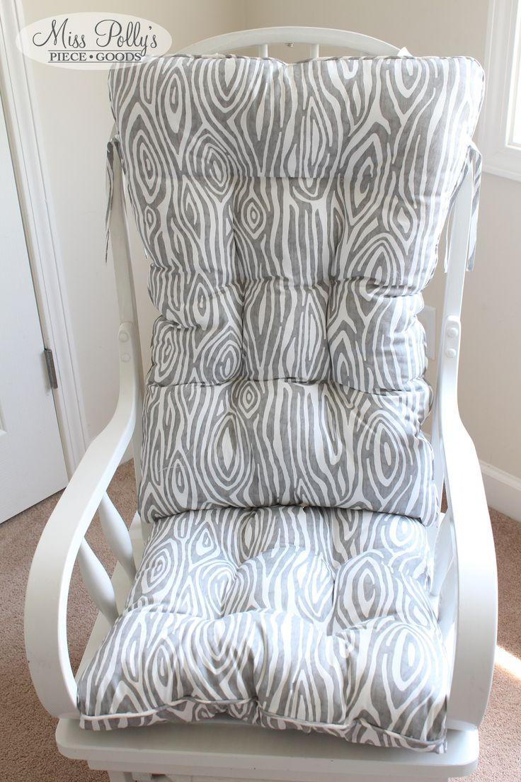 Glider Cushion Custom made by MissPollysPieceGoods. Design yours in Fabrics YOU Choose here https://www.etsy.com/listing/187360506/custom-chair-cushions-glider-cushions  Fabric Name: Gray Willow #gray #cushions #rockingchair #glider #misspolly