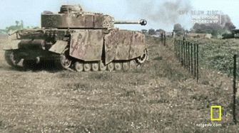 Colorized footage of a Waffen SS Panzer IV plowing through a French field