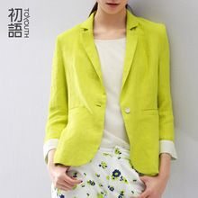 Toyouth 2016 New Arrival Women Suit Blazer Linen Notched Collar Ladies Linen Jacket Vogue Refresh Solid Three Quarter Blazers(China (Mainland))