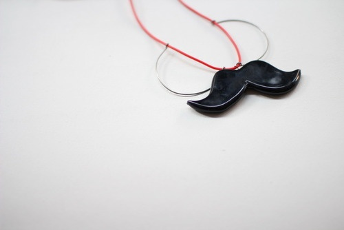 ceramic mustache necklace