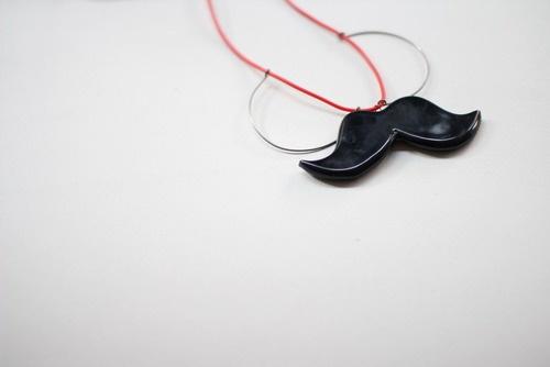 ceramic mustache necklace