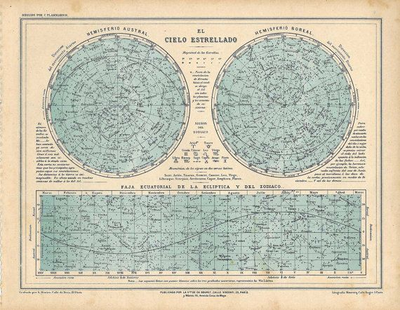 1929 Vintage Star Chart  Celestial Map  Constellations