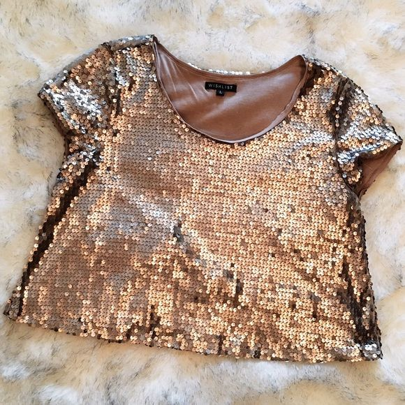 Gold Sequin crop top Gold Sequin crop top. Worn once. Excellent condition. Wish List Tops Crop Tops