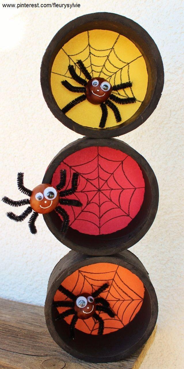 Bricolage Halloween pour les enfants: araignées avec des marrons et rouleaux de scotch usagés.   http://pinterest.com/fleurysylvie/mes-creas-pour-les-kids/