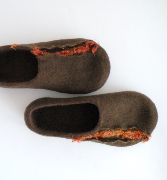 Felted slippers - wool clogs - brown and orange