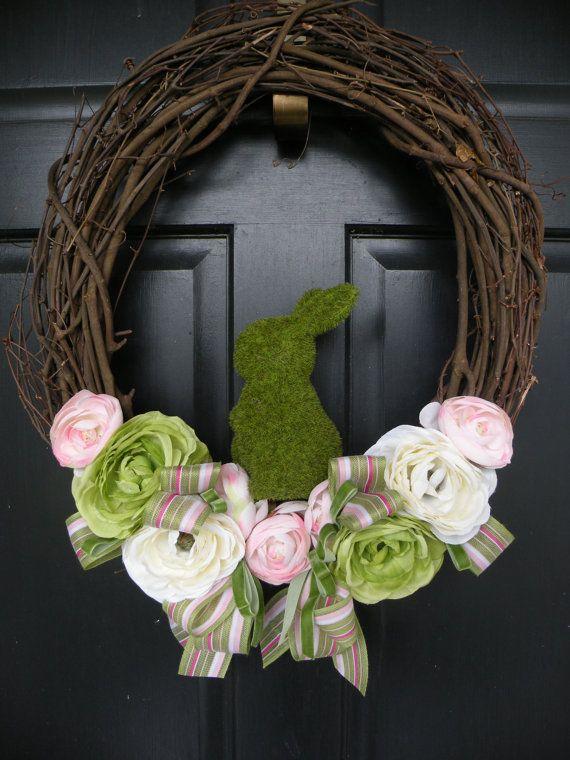 Moss Bunny Ranunculus Easter Wreath by Daulhouseshop on Etsy