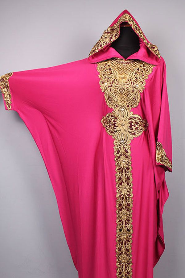 Moroccan Hoodie CAFTAN Pink Spandex Abaya Maxi Dress Gold Embroidery Jalabiya #Handmade #MaxiDress #Christmasdress #wholesaledress #abaya #kaftan #moroccancaftan #caftandress #hoodiedress #embroiderydress