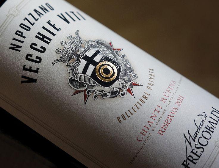 Etichette Frescobaldi, vini Nipozzano, Chianti e Toscana, packaging design a cura dell'Agenzia Doni & Associati di Firenze